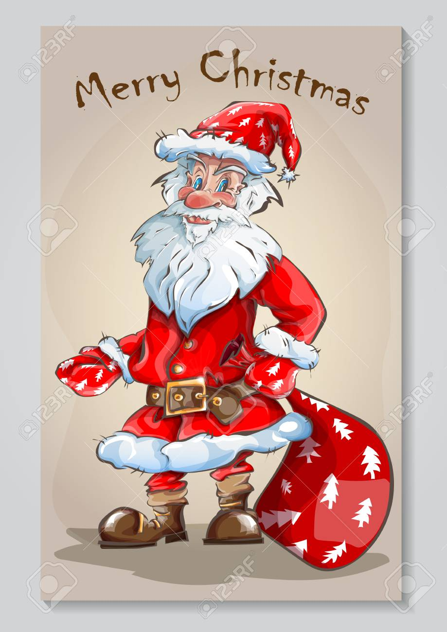 Carte De Voeux Avec Père Noël Clip Art Libres De Droits , Vecteurs