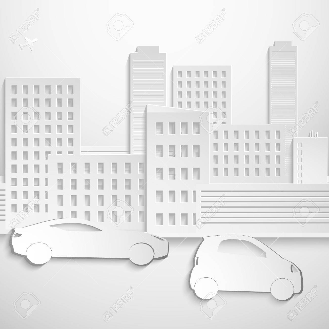 Abstract 3D Paper Buildings ang cars  Vector EPS 10