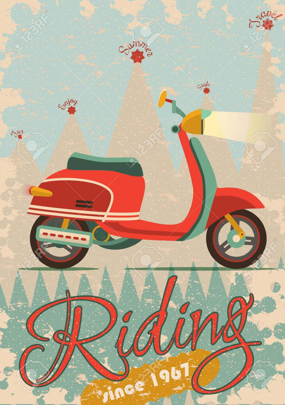 Retro Poster Design With Vintage Scooter Illustration Sample Royalty Free Cliparts Vectors And Stock Illustration Image 46783811
