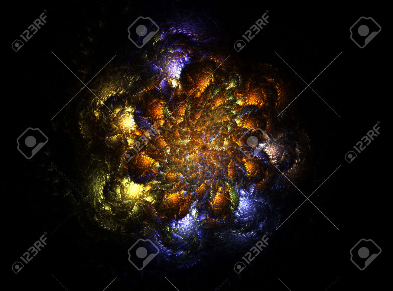 Computer generated fractal illustration of dragon claws gripped around the outside of a pile of gold as seen from below Stock Photo - 1849534