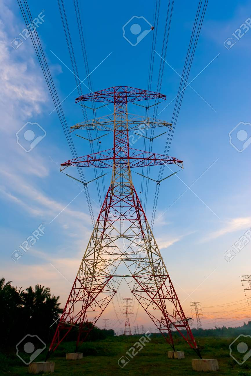 Electricity pylons at sunset Stock Photo - 9715772