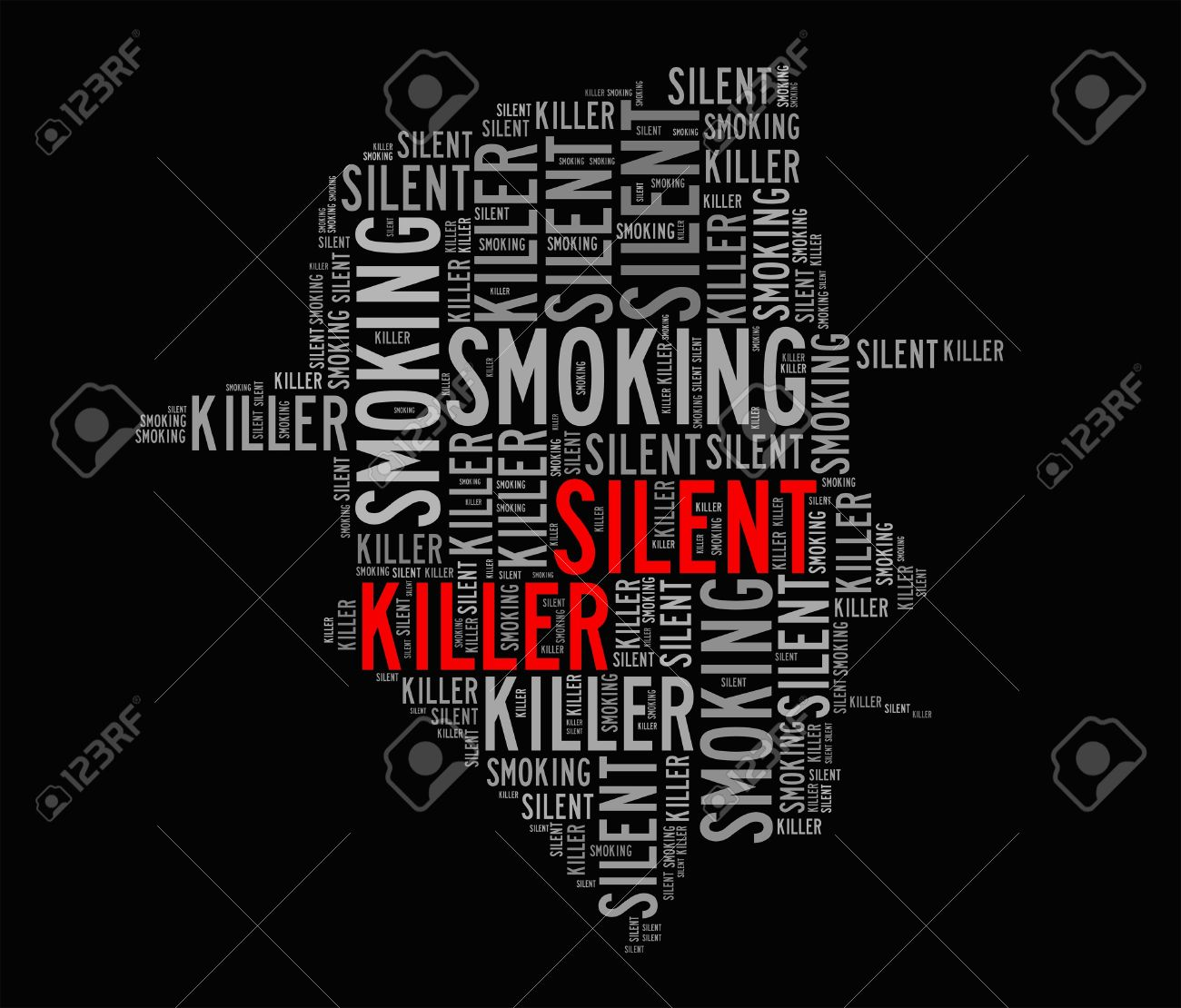 Smoking is silent killer info-text graphics and arrangement concept  word clouds Stock Photo - 18003380