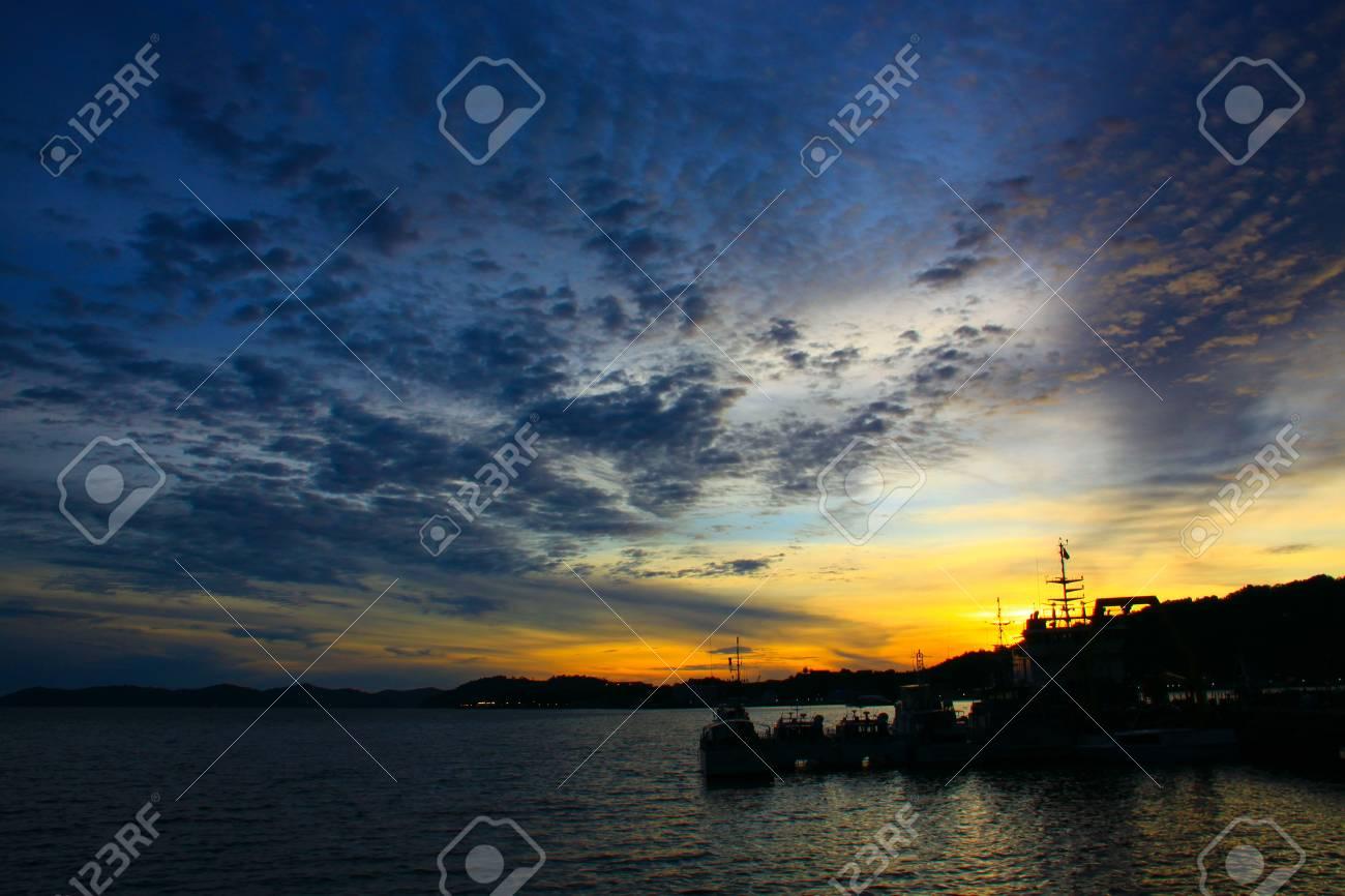 Beutiful sunset at Sepanggar Port, Sepanggar, Kota Kinabalu, Sabah Stock Photo - 11053095