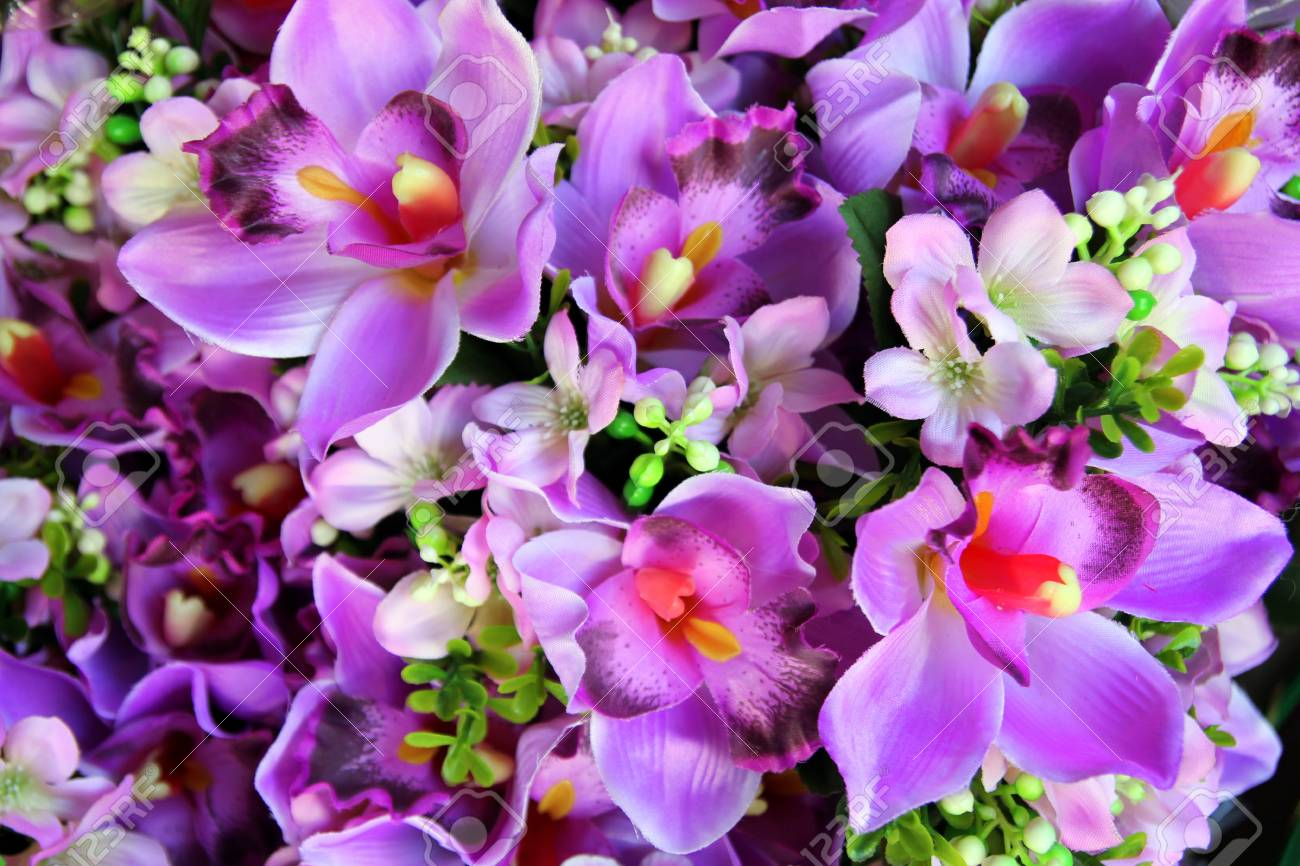 Travel To Bangkok, Thailand. The Purple Flowers In The Bouquets ...
