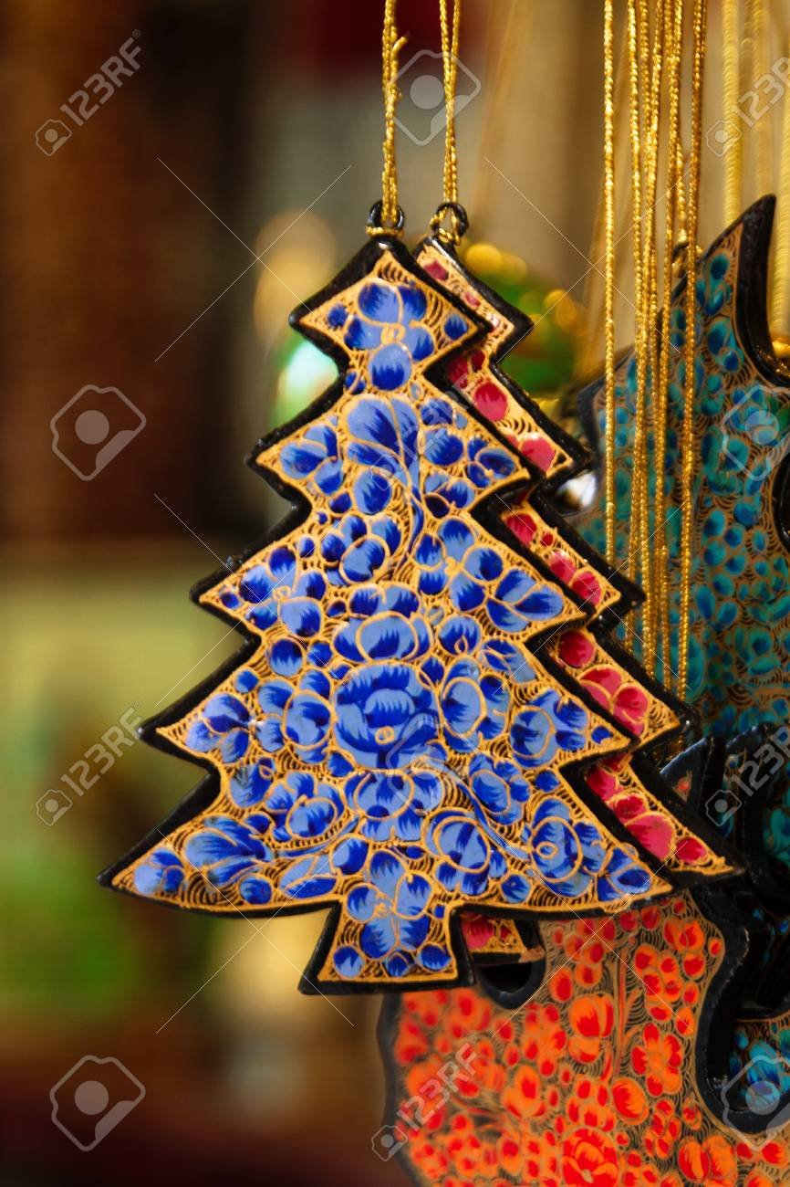 Colorful Painted Wooden Christmas Decorations Close Up On A Market Stock Photo Picture And Royalty Free Image Image 91326069