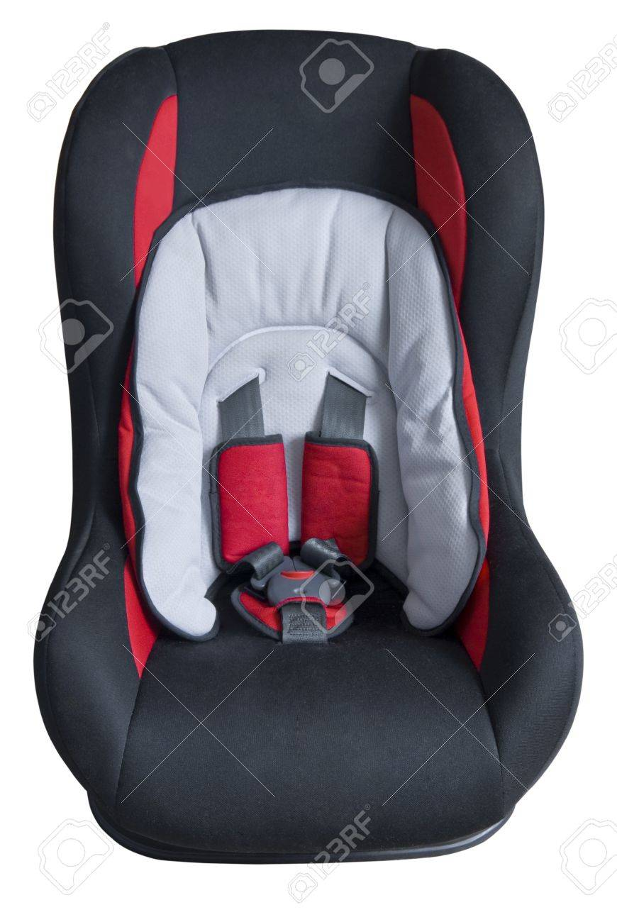 Dark children's car seat with red parts. Front view. Isolated on white background Stock Photo - 7244567