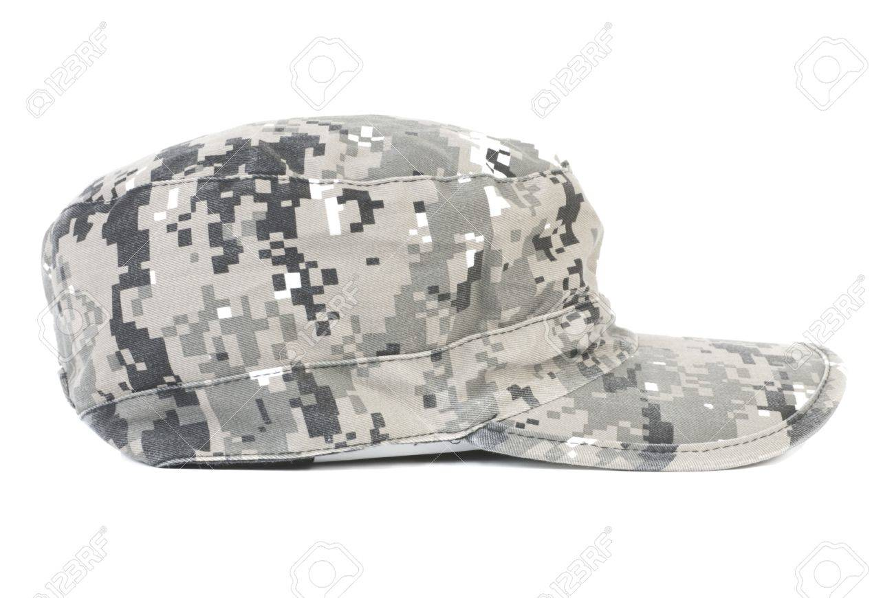 e2447a327aac68 Grey camouflage military cap. Isolated on white background Stock Photo -  7715962