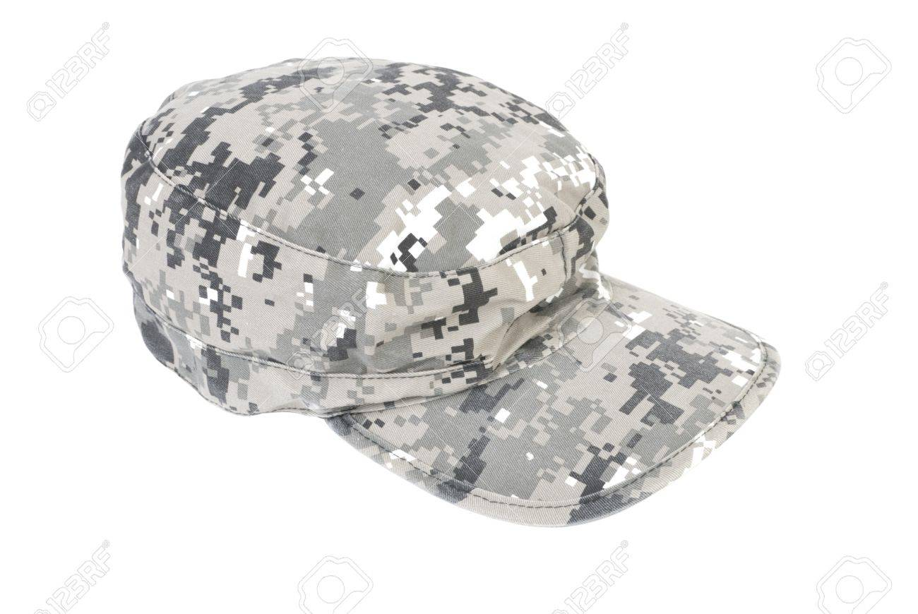 0555878af464da Grey camouflage military cap. Isolated on white background Stock Photo -  7715977