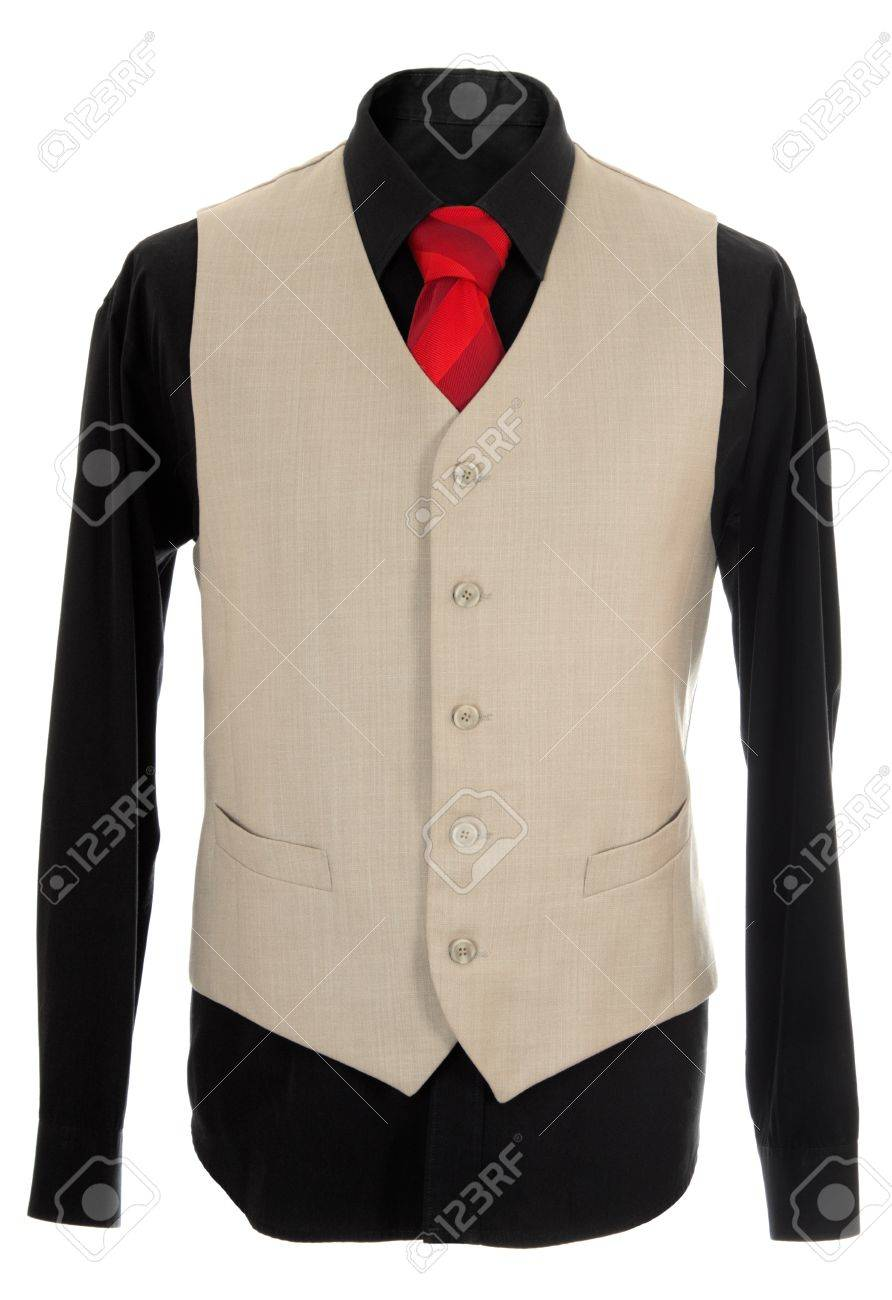 Empty light office wearing. Also black shirt and red necktie. Isolated over white Stock Photo - 8589210