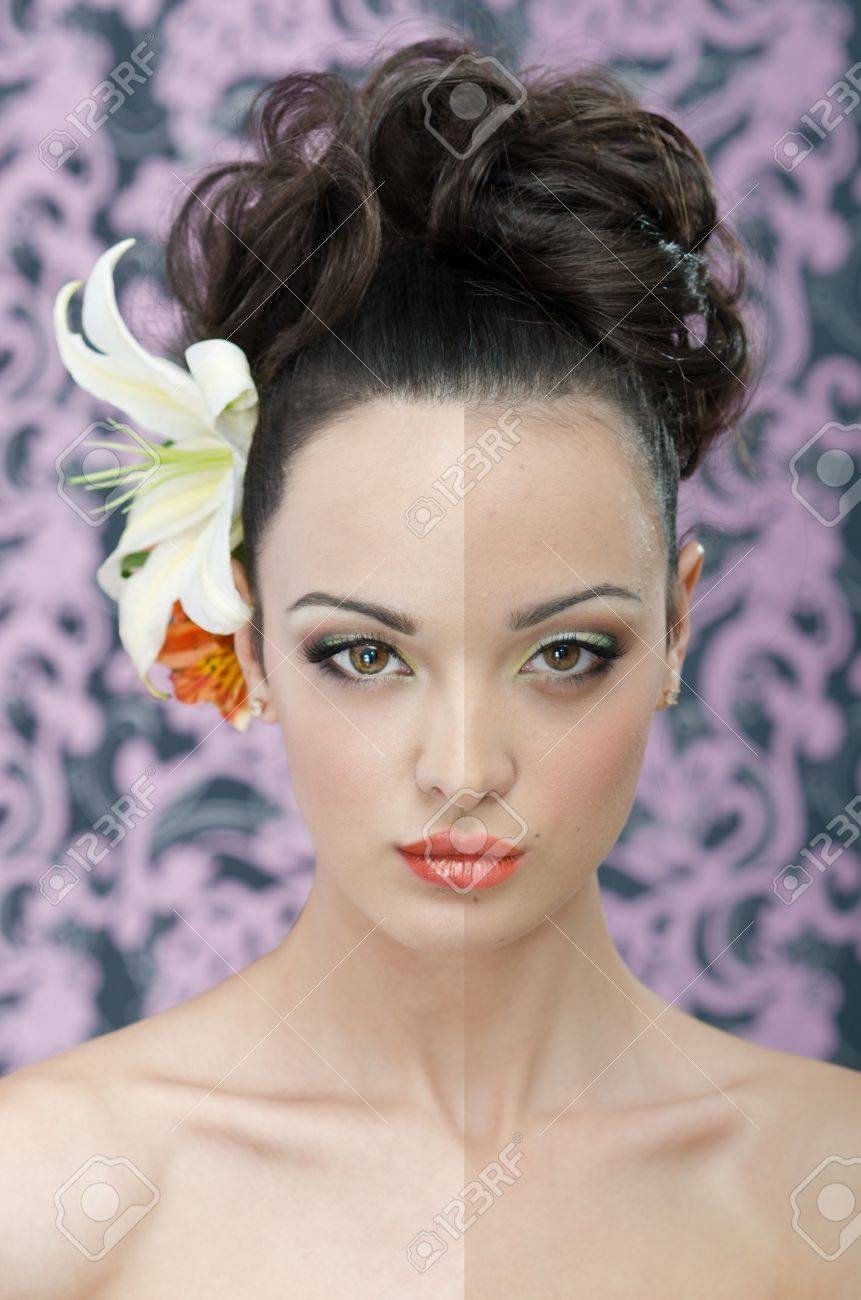 Close up beauty head shot of young adult woman with make-up, hair style and lily flowers in hair Stock Photo - 12897338