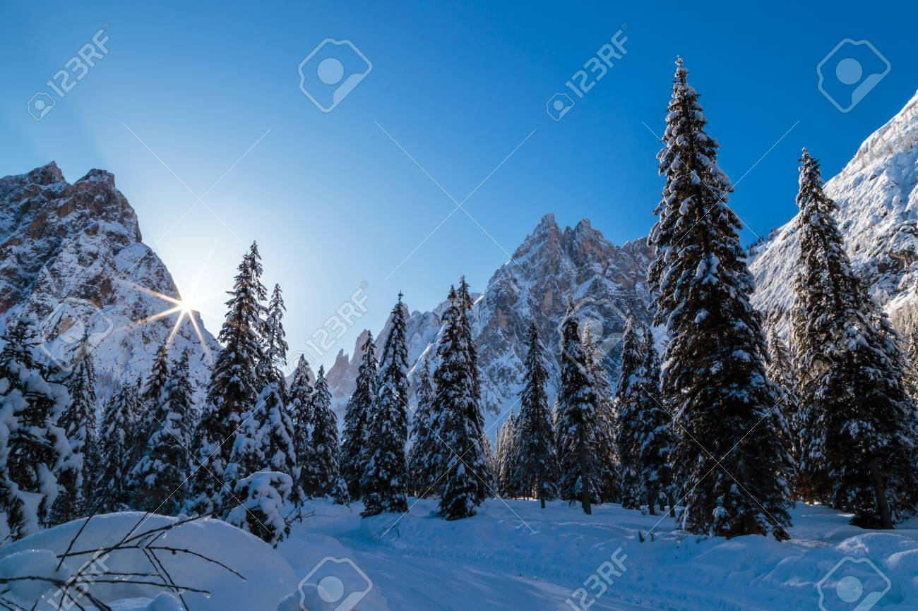 Sunny Winter Morning In The Italian Dolomites Stock Photo Picture