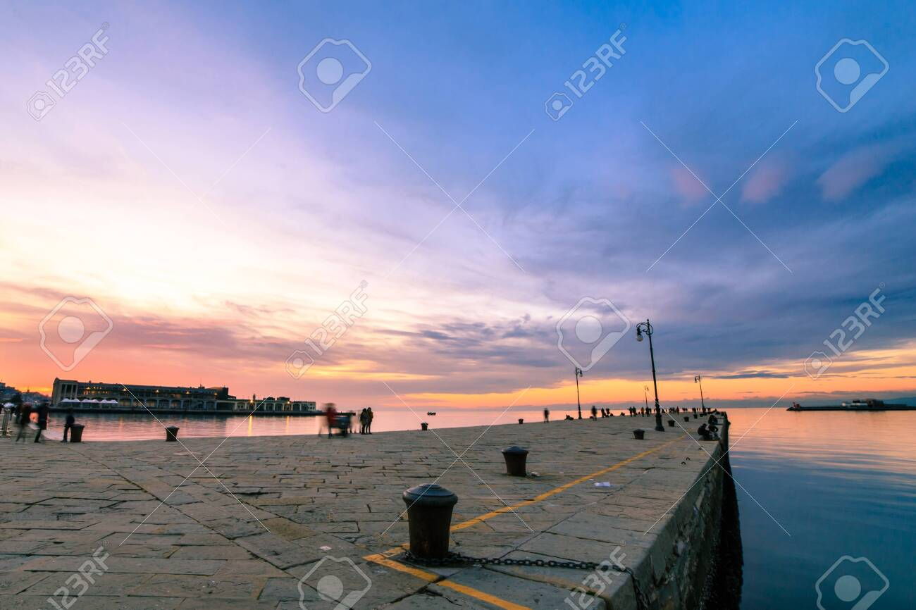 The Molo Audace pier of Trieste in a winter evening - 132221713