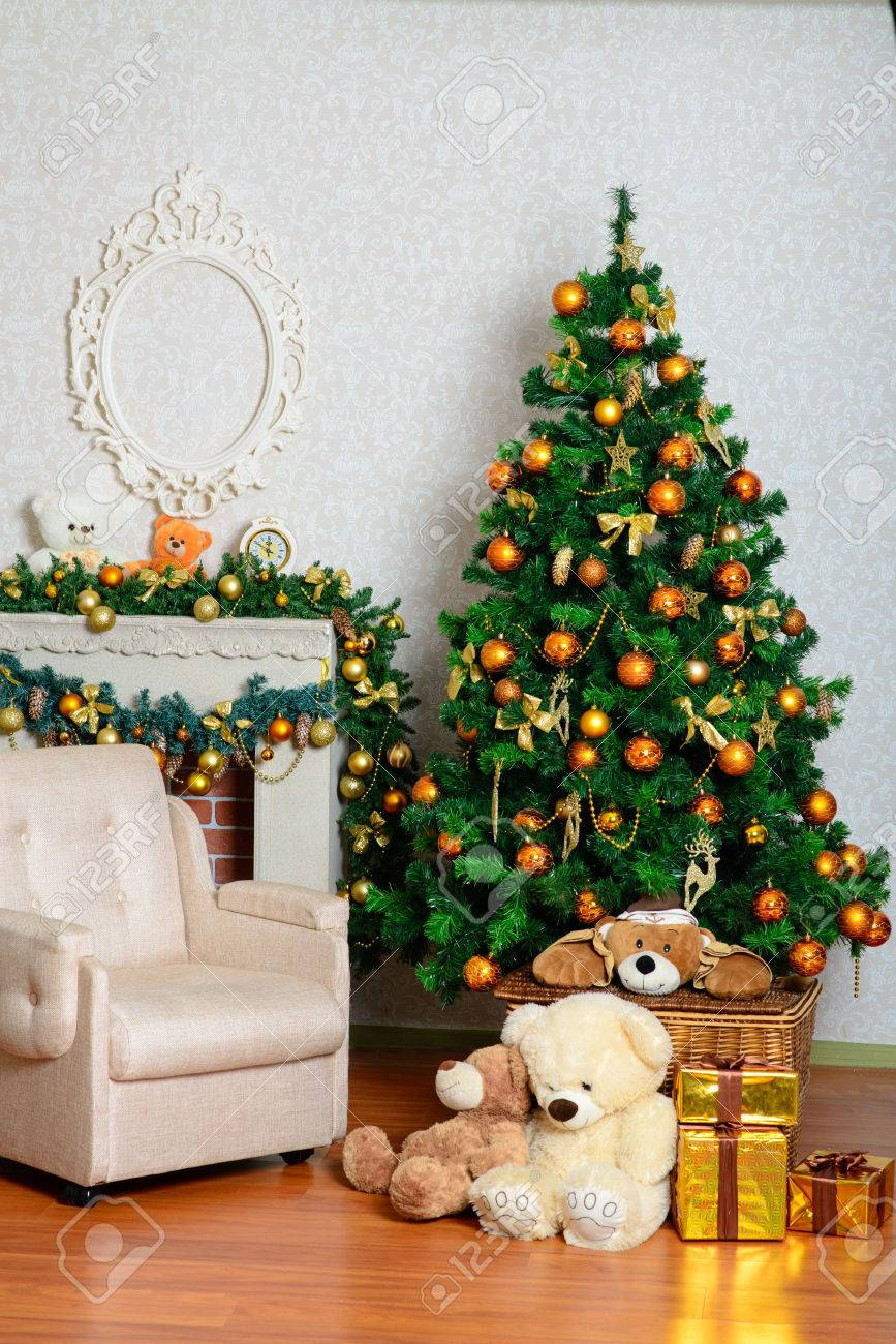 Christmas Gift Packages.Celebratory New Year Tree Decorated With Beautiful Fur Tree Toys