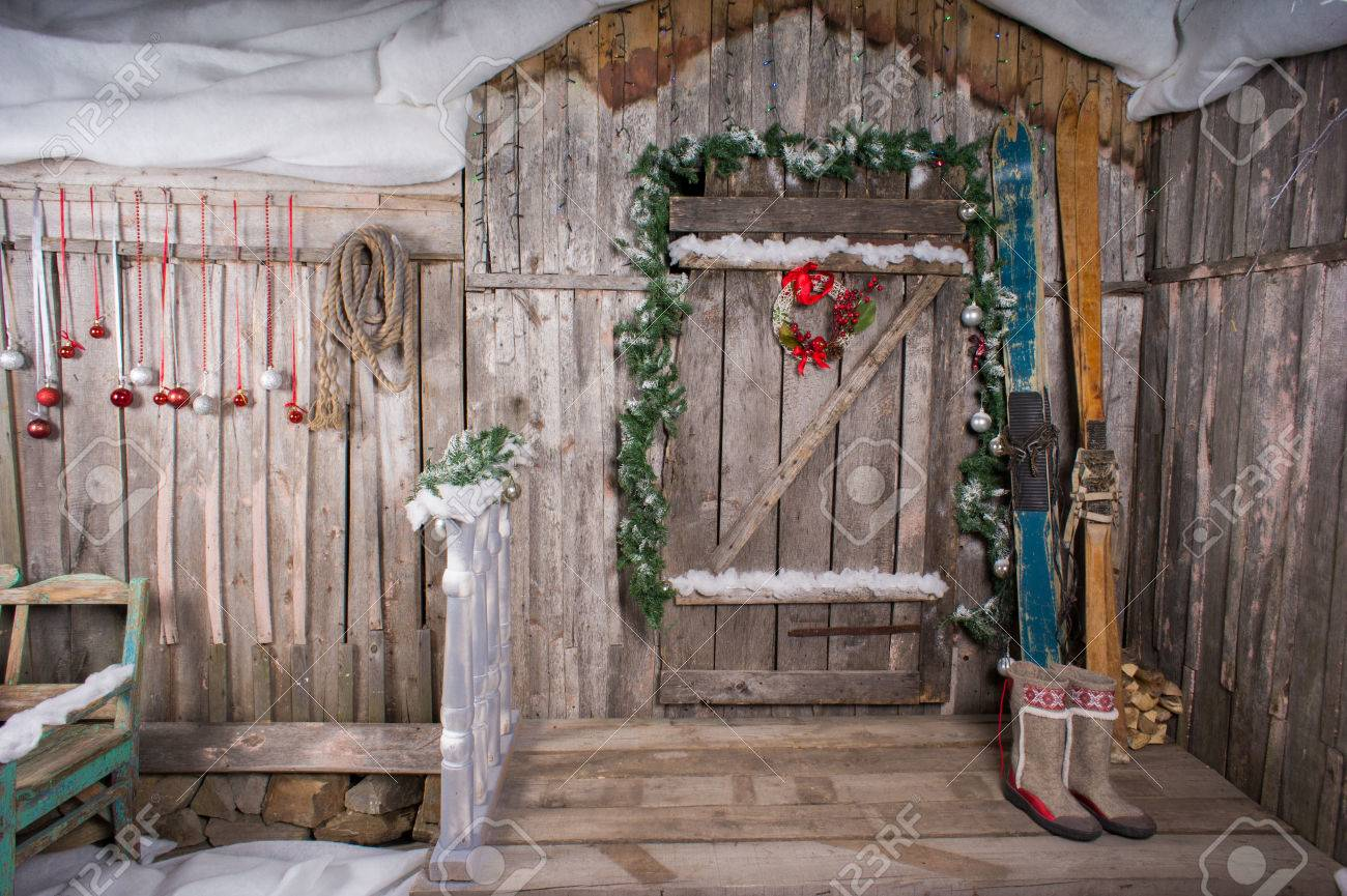 The Old Wooden Chalet With A Decoration Background Skiing Stock ...