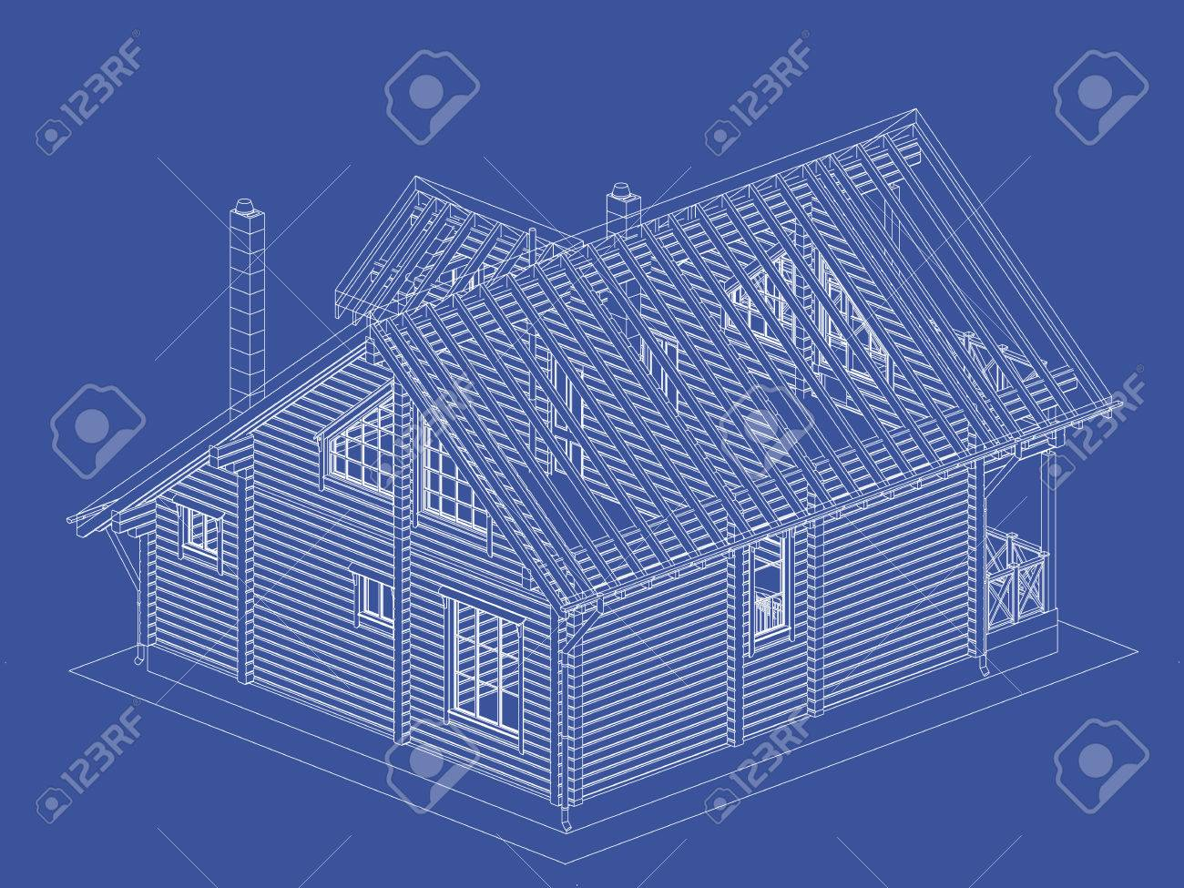 The authors project blueprint of a wooden house from glued the authors project blueprint of a wooden house from glued profiled beam with the rafters malvernweather Images