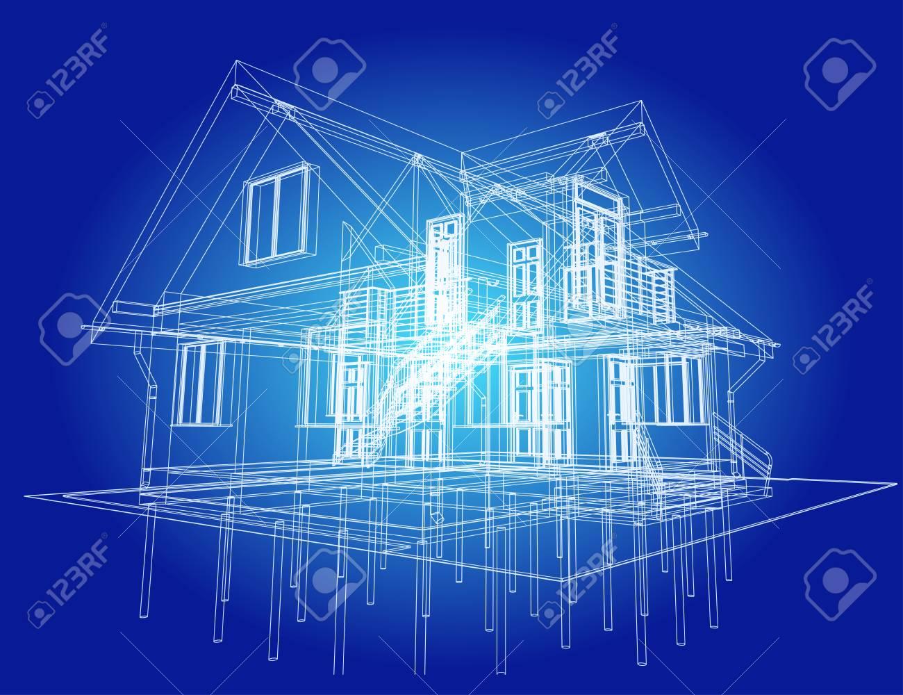 El Plano De Diseño Arquitectónico De Casa Residencial De Entramado De Madera Con La Terraza Vector