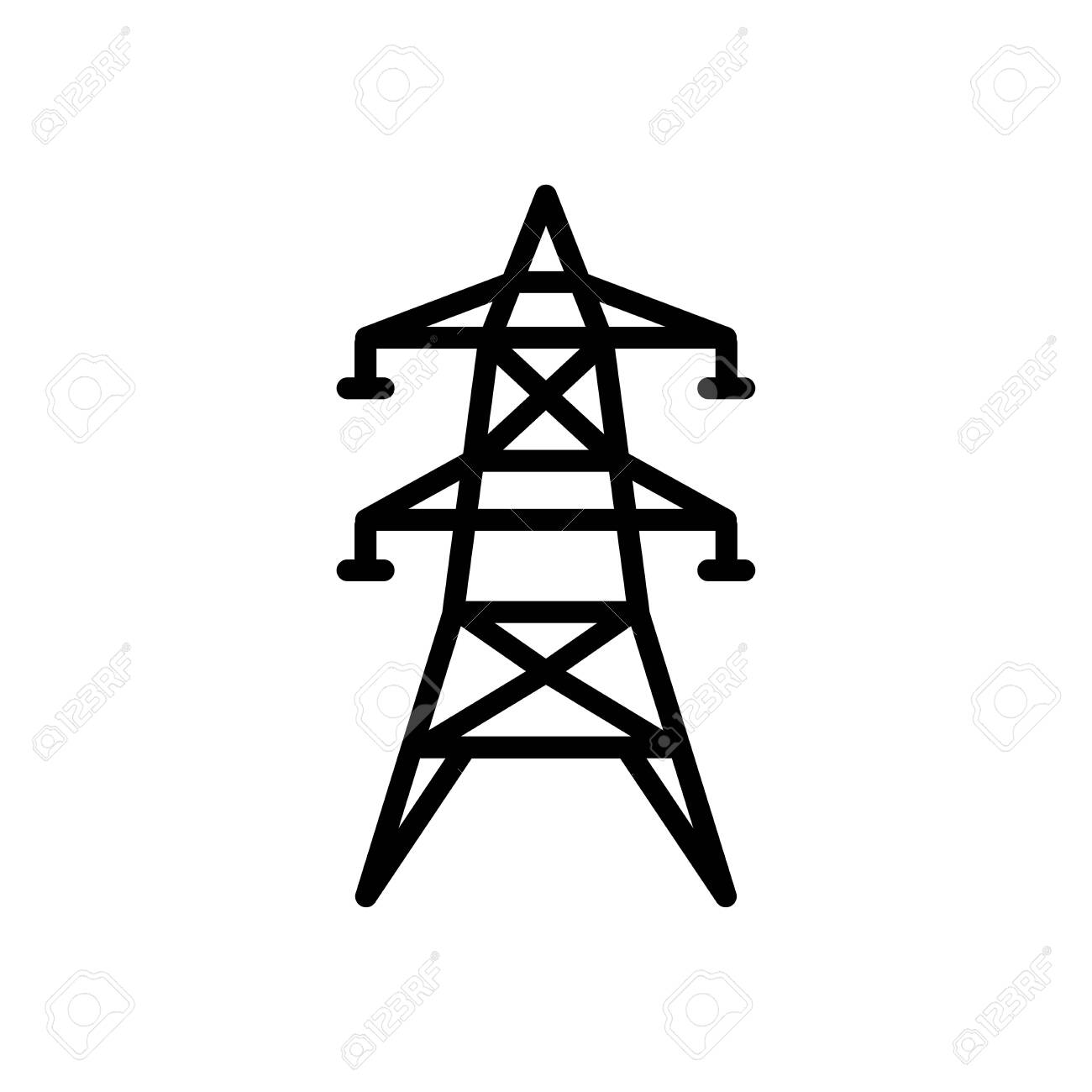 Electric tower icon flat vector template design trendy - 147091901