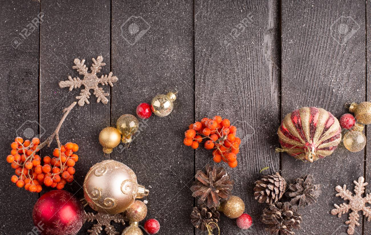 Roman Christmas Ornaments.Christmas Still Life With Red And Golden Ornaments Fir Cones