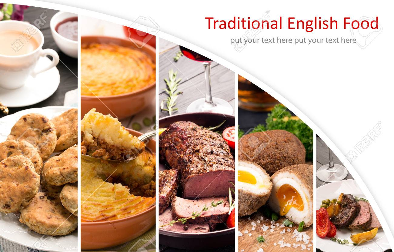 Traditional english food photo collage with english cuisine stock stock photo traditional english food photo collage with english cuisine forumfinder Images