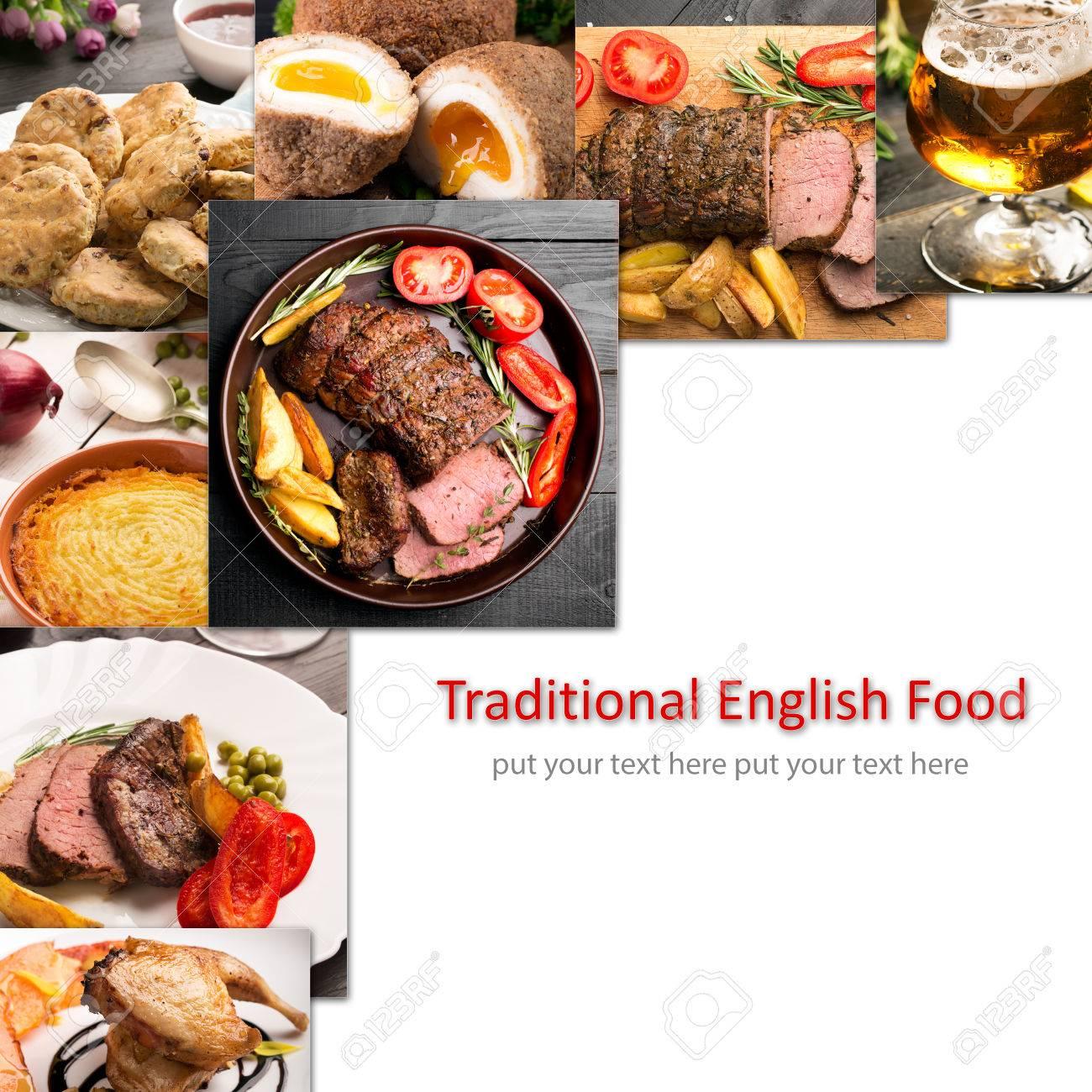 Cibo Tradizionale Inglese. Foto Collage Con Cucina Inglese. Foto ...