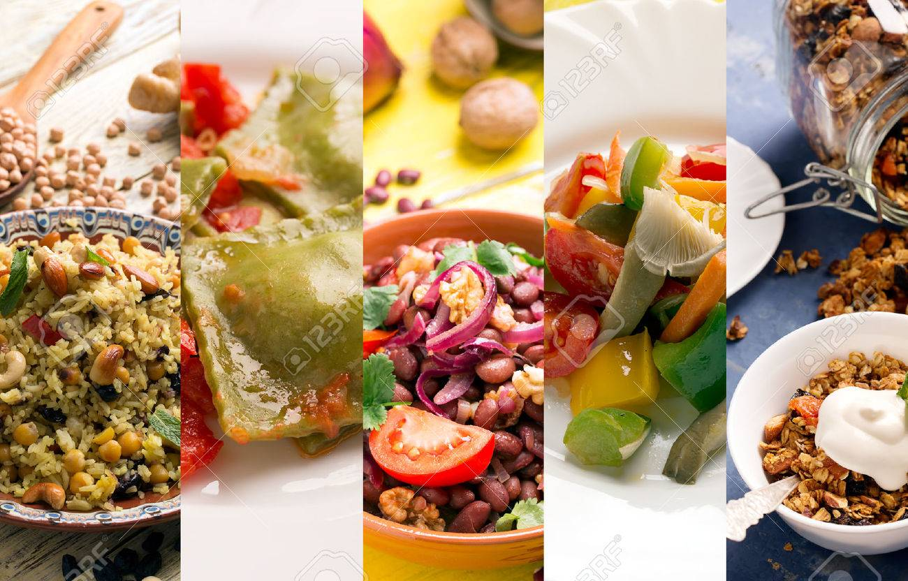 Natural food. Photo collage with vegetarian food - 52158559