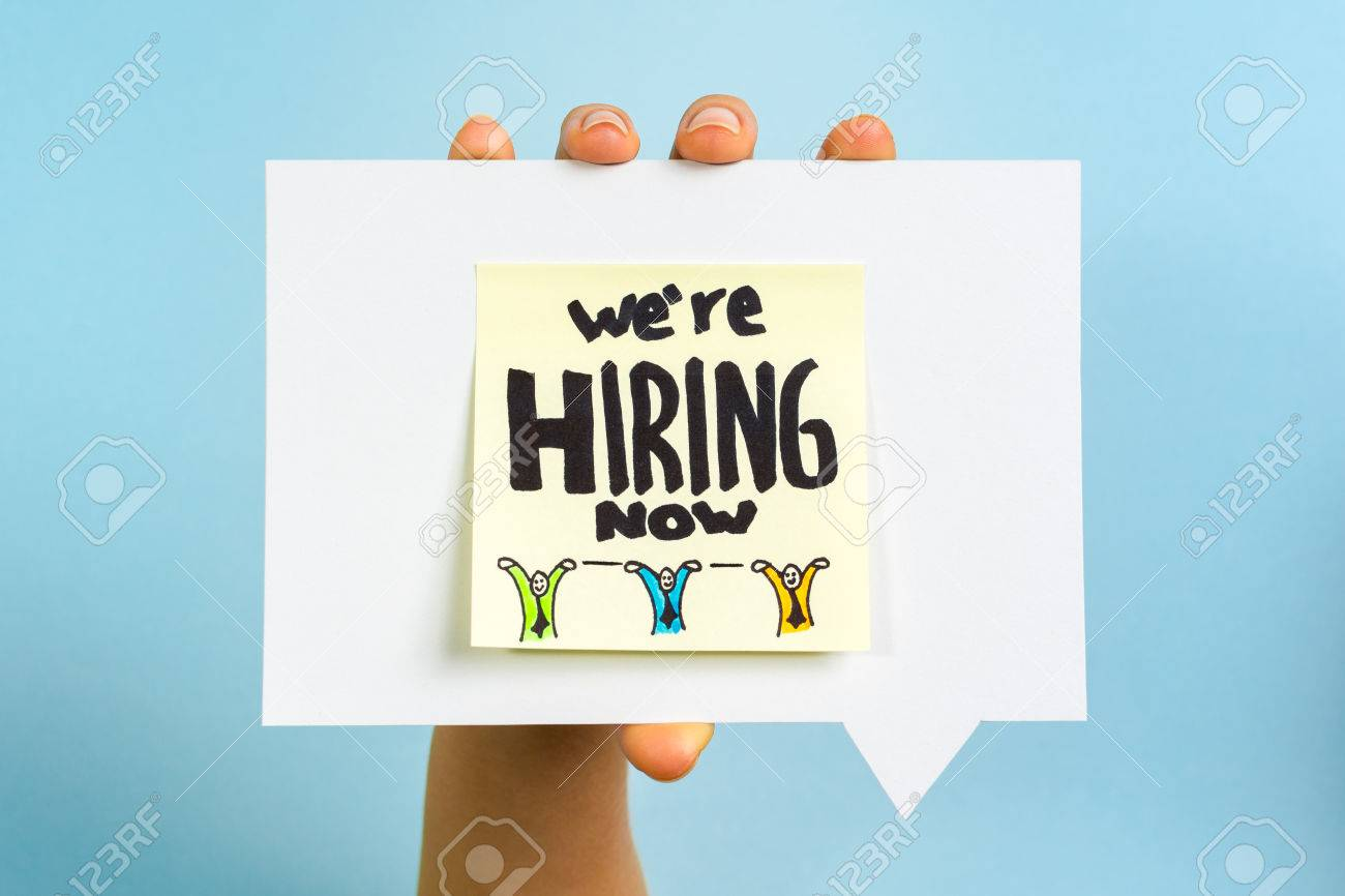 we are hiring now note on blue background - 35140992