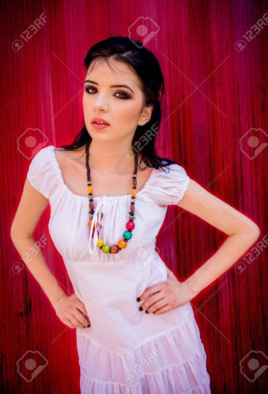 Beautiful brunette in this amazing girl next door photo