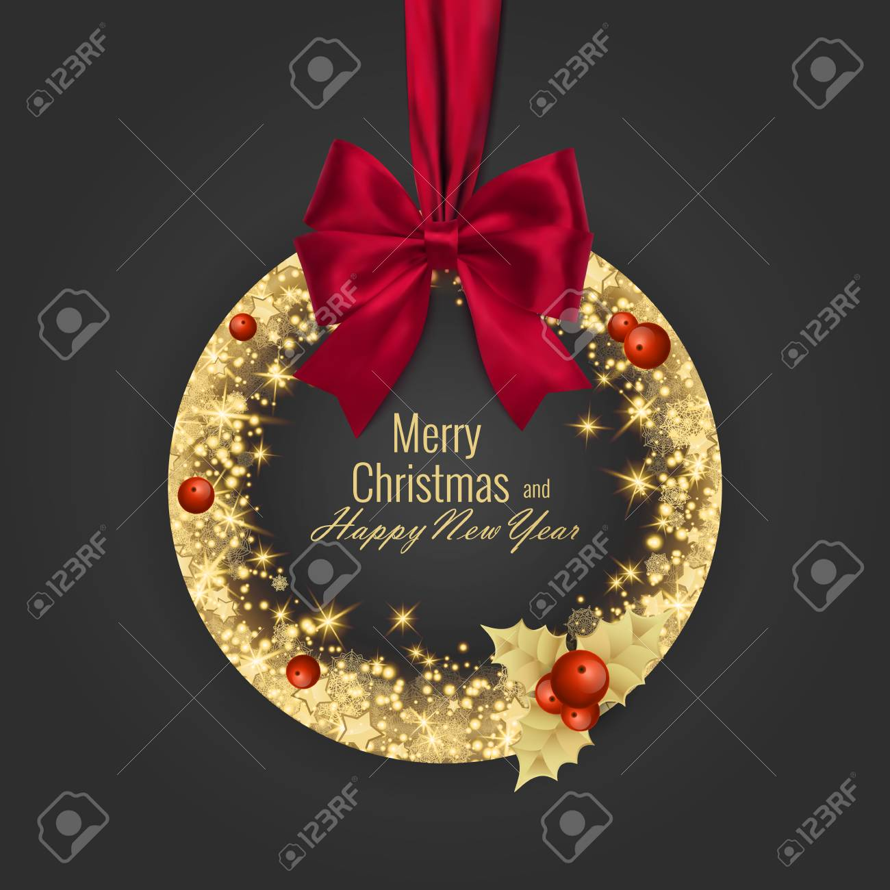 Merry Christmas and Happy New Year 2018 greeting card, vector illustration - 88261186