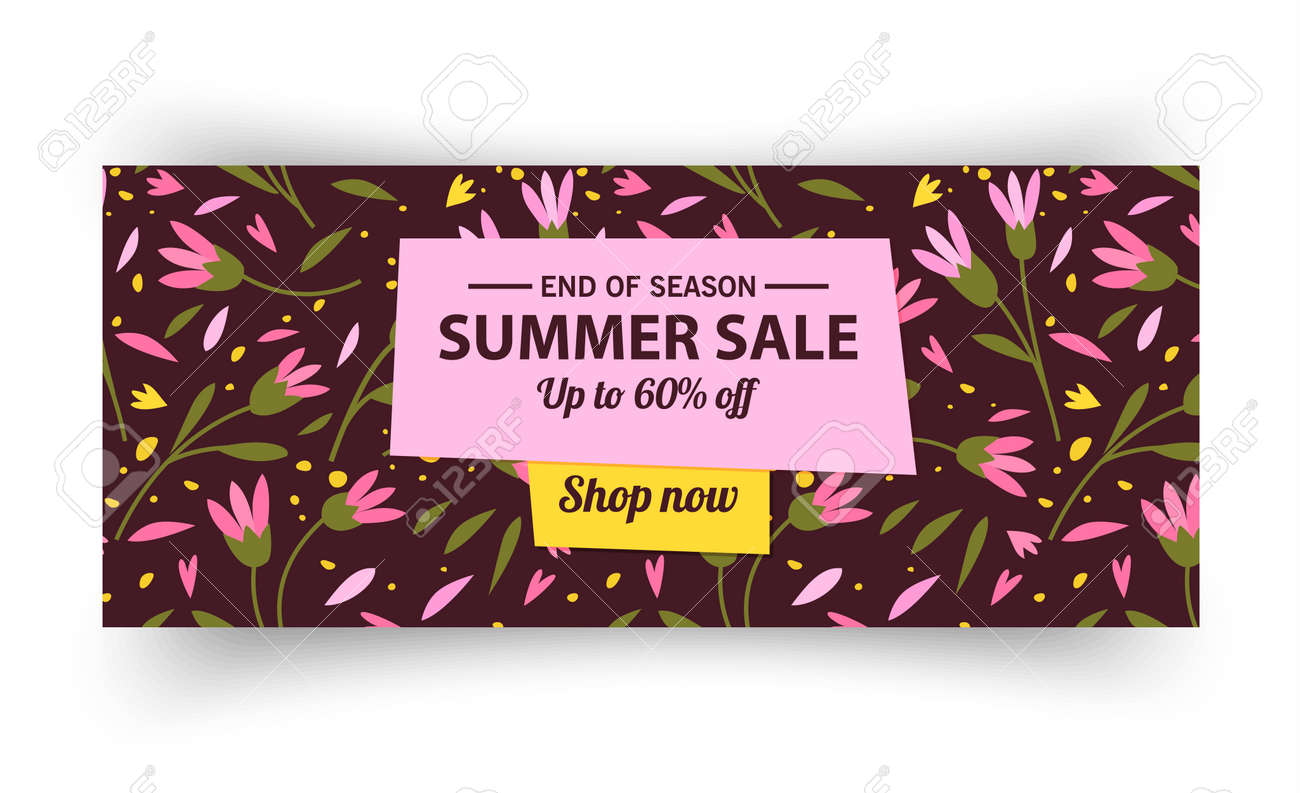 Summer sale banner template, Summer sale bright background for your advertisement, Vector illustration - 170162859