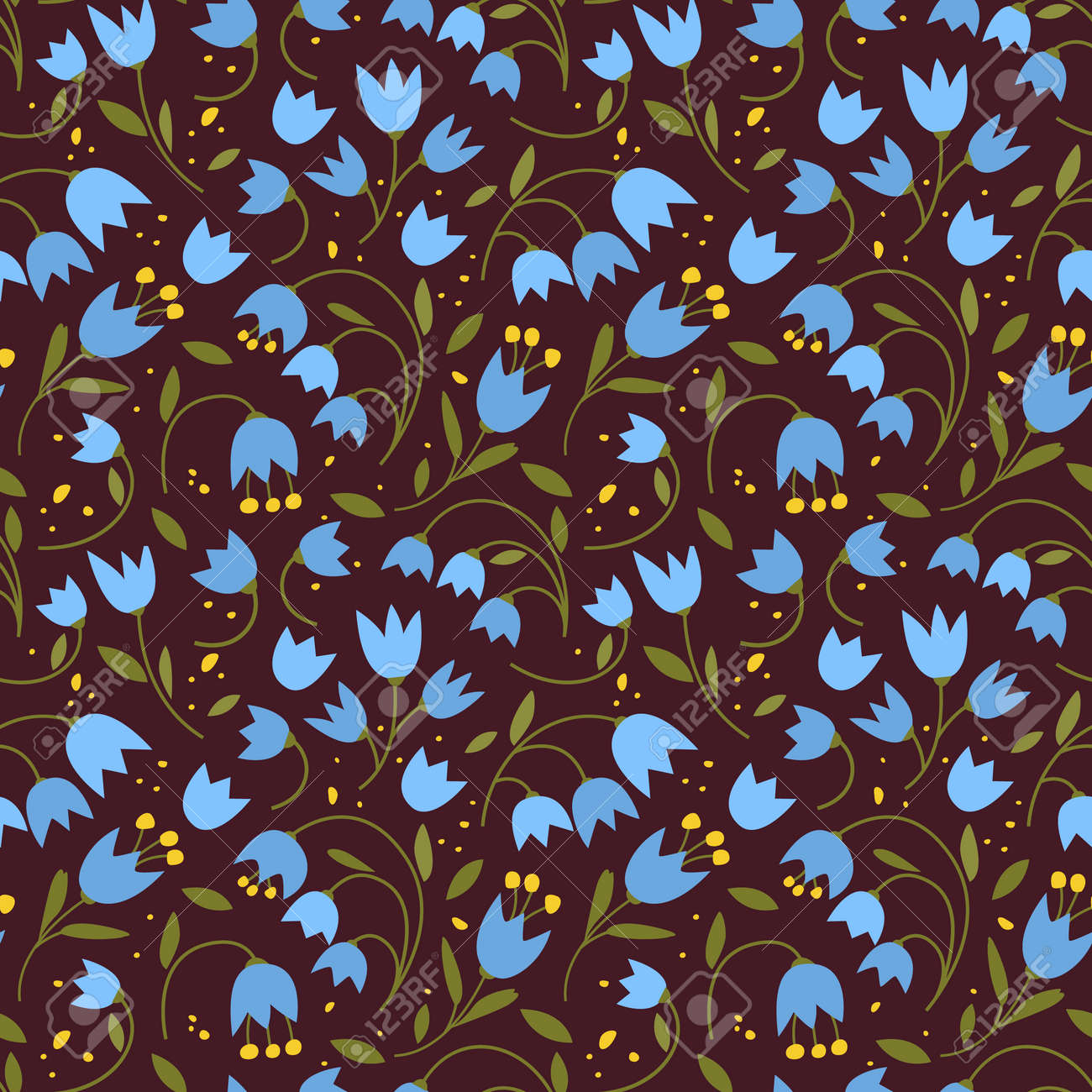 Cute seamless pattern with colorful small flowers. Small flowers on Dark background, Vector illustrations - 170162877