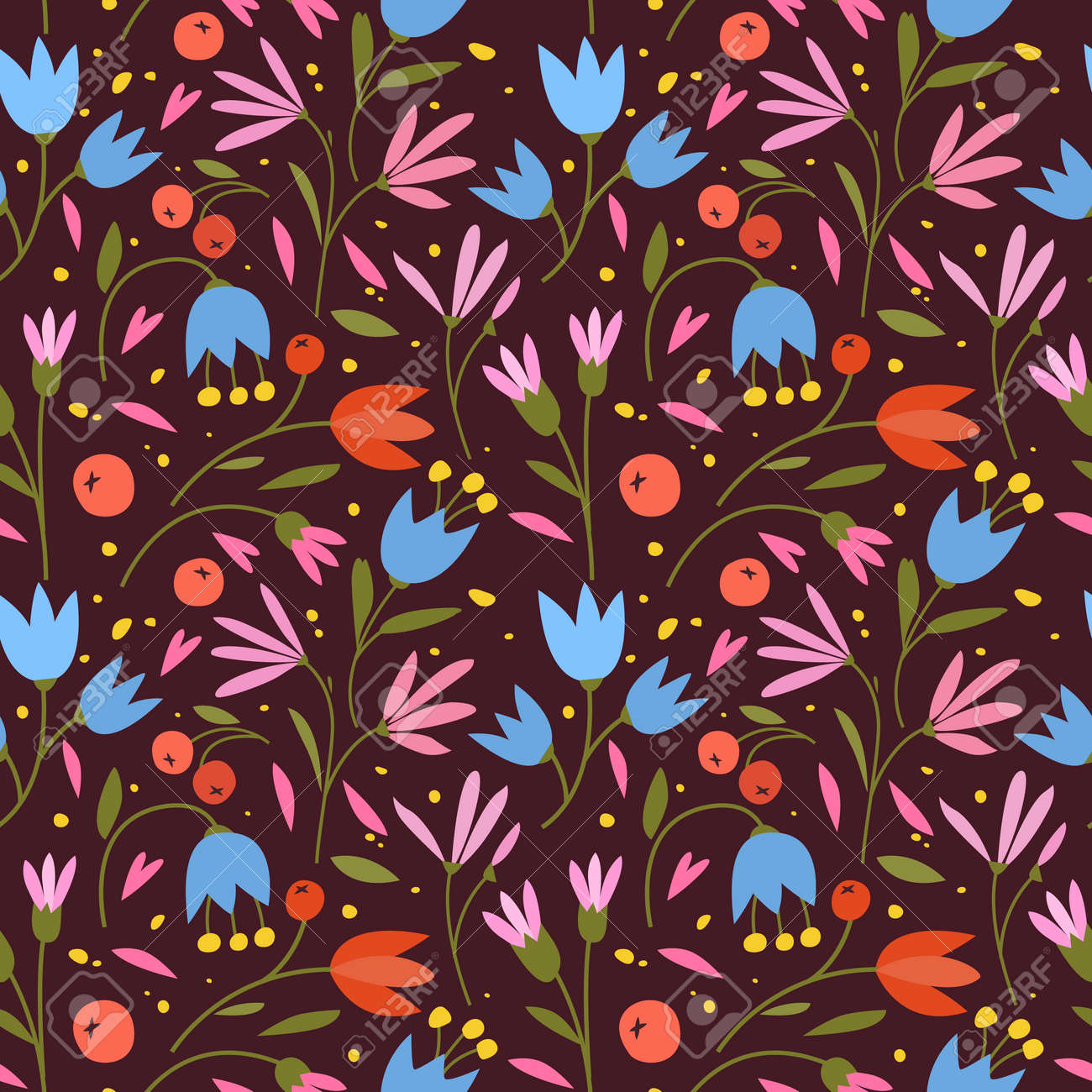 Cute seamless pattern with colorful small flowers. Small flowers on Dark background, Vector illustrations - 170709843