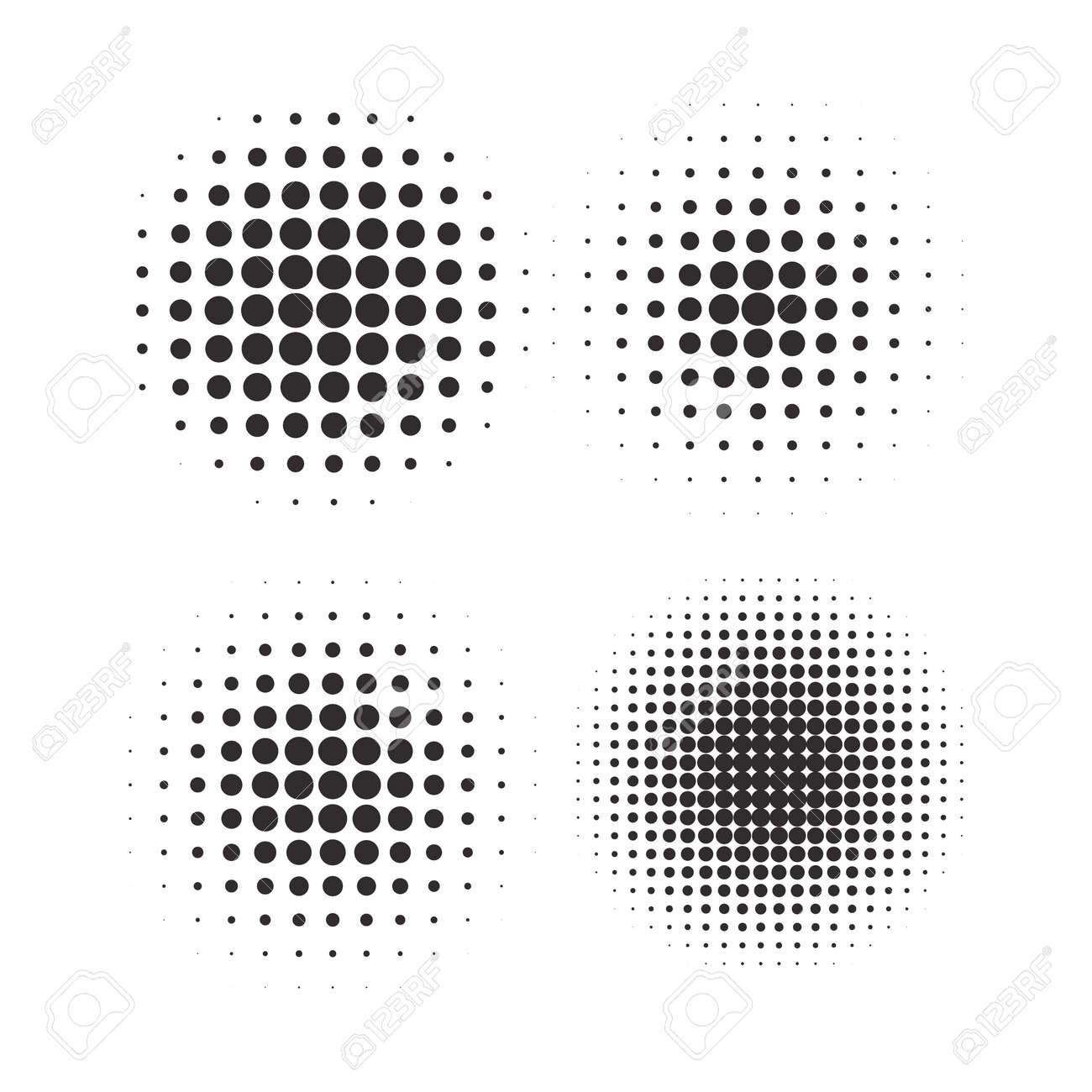 Halftone circles, halftone dot pattern texture set on white background - 170654857