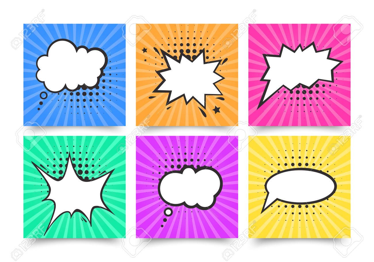 Retro comic empty speech bubbles set on colorful background, vintage design, pop art style - 170654717