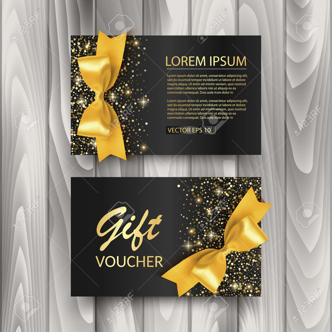 Set of Gift Voucher Card Template, Advertising or Sale. template with glitter texture and realistic bow illustration, vector - 170709823