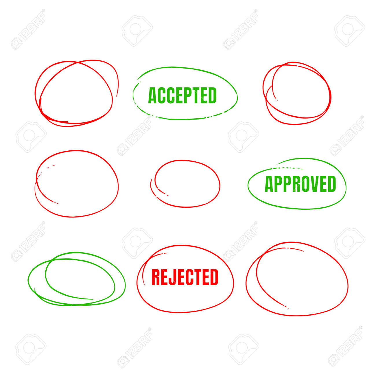 Set Of Red Hand Drawn Circles, marks for choice text or object selection - 171118200