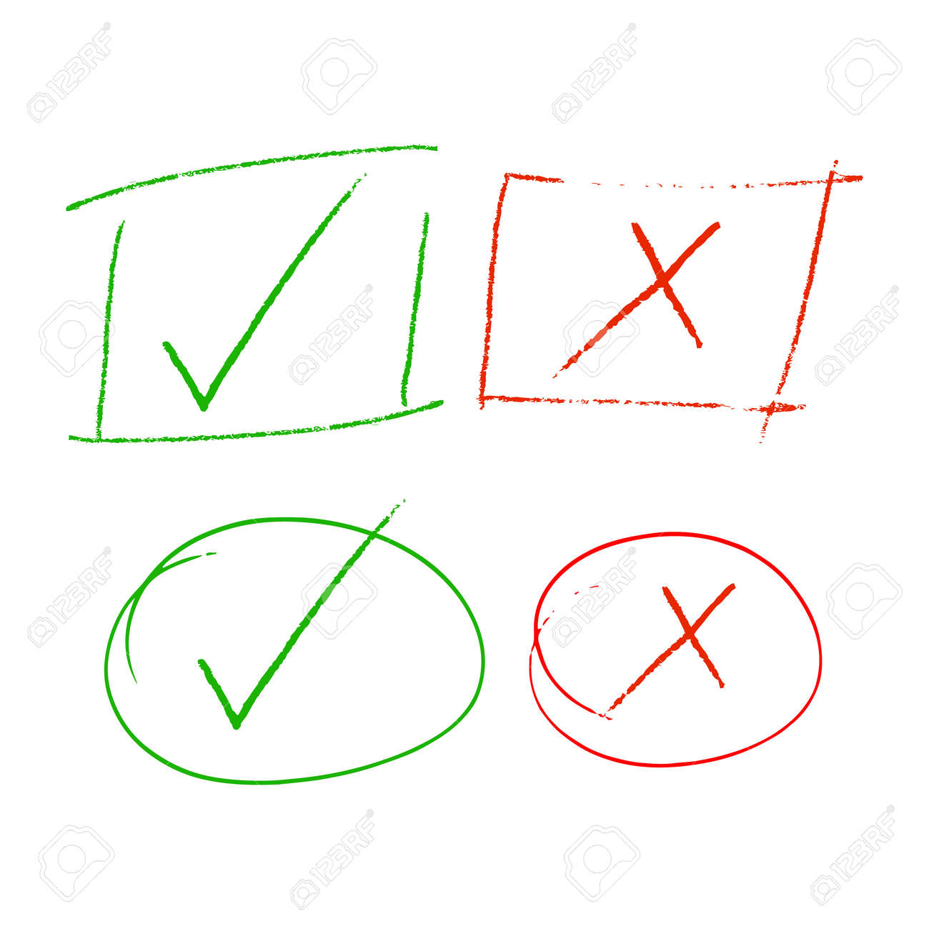 Check marks, Check and cross highlight sign, checklist marking reject and accept mark Green tick and red cross - 171608635