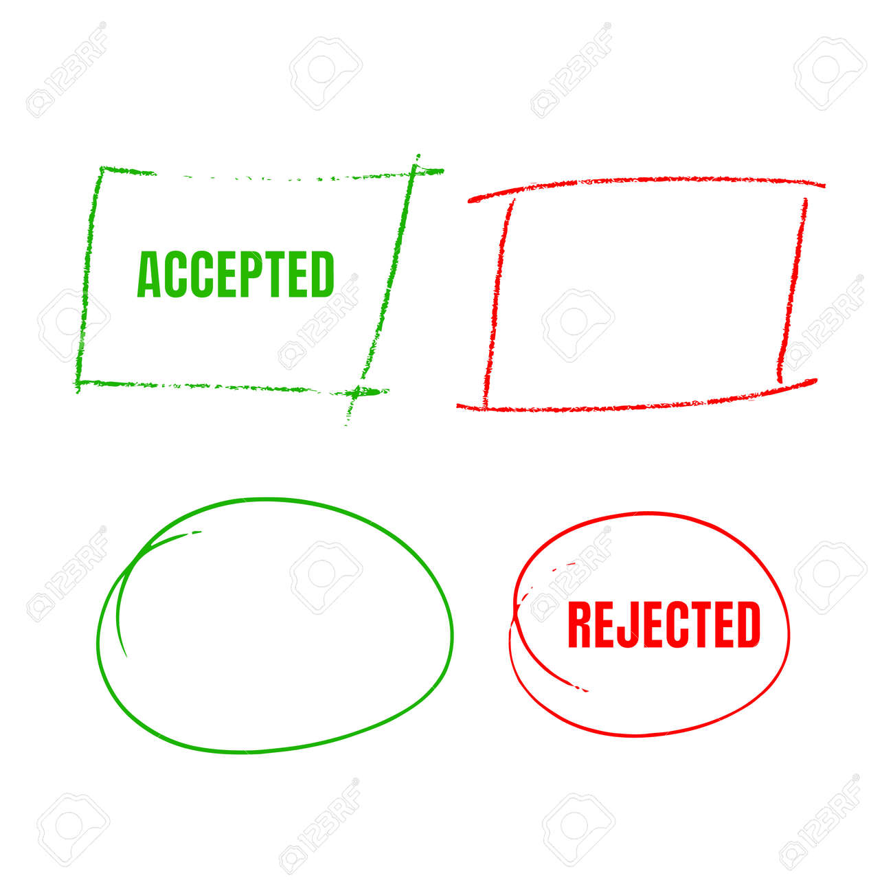 Set Of Red Hand Drawn Circles, marks for choice text or object selection - 171117999