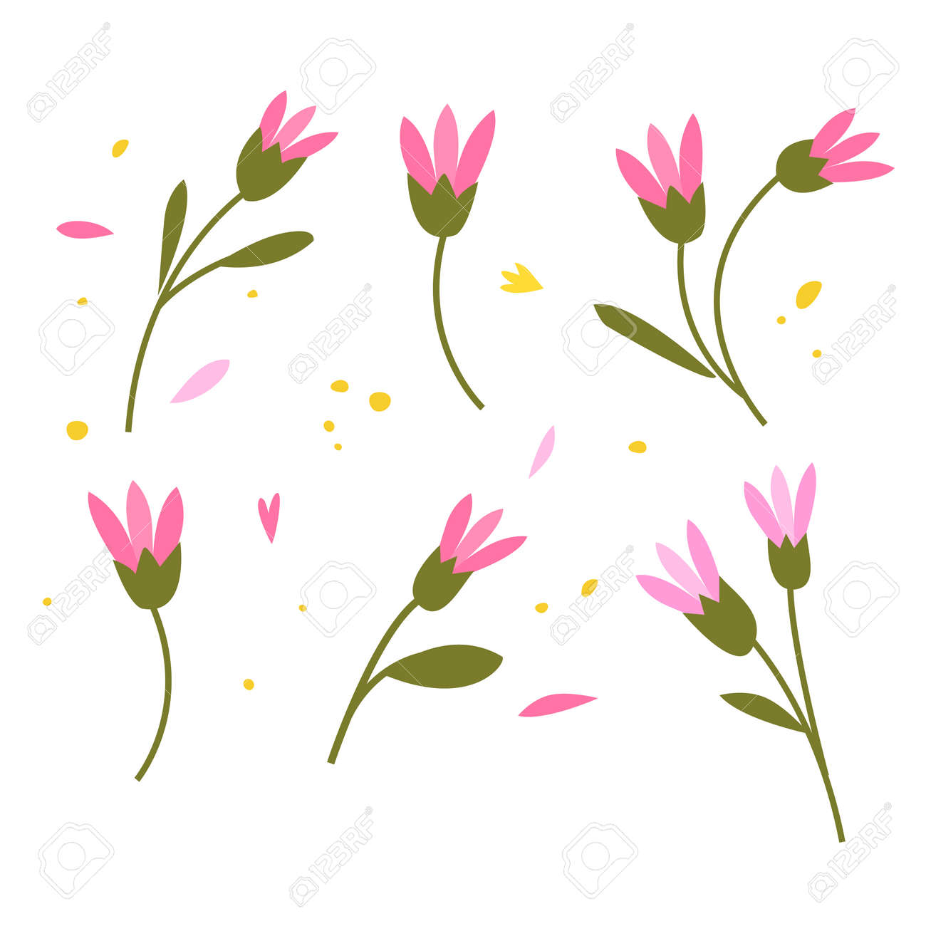 Collection of hand drawn plants. Botanical set of sketch flowers and branches, vector illustrations - 171448063