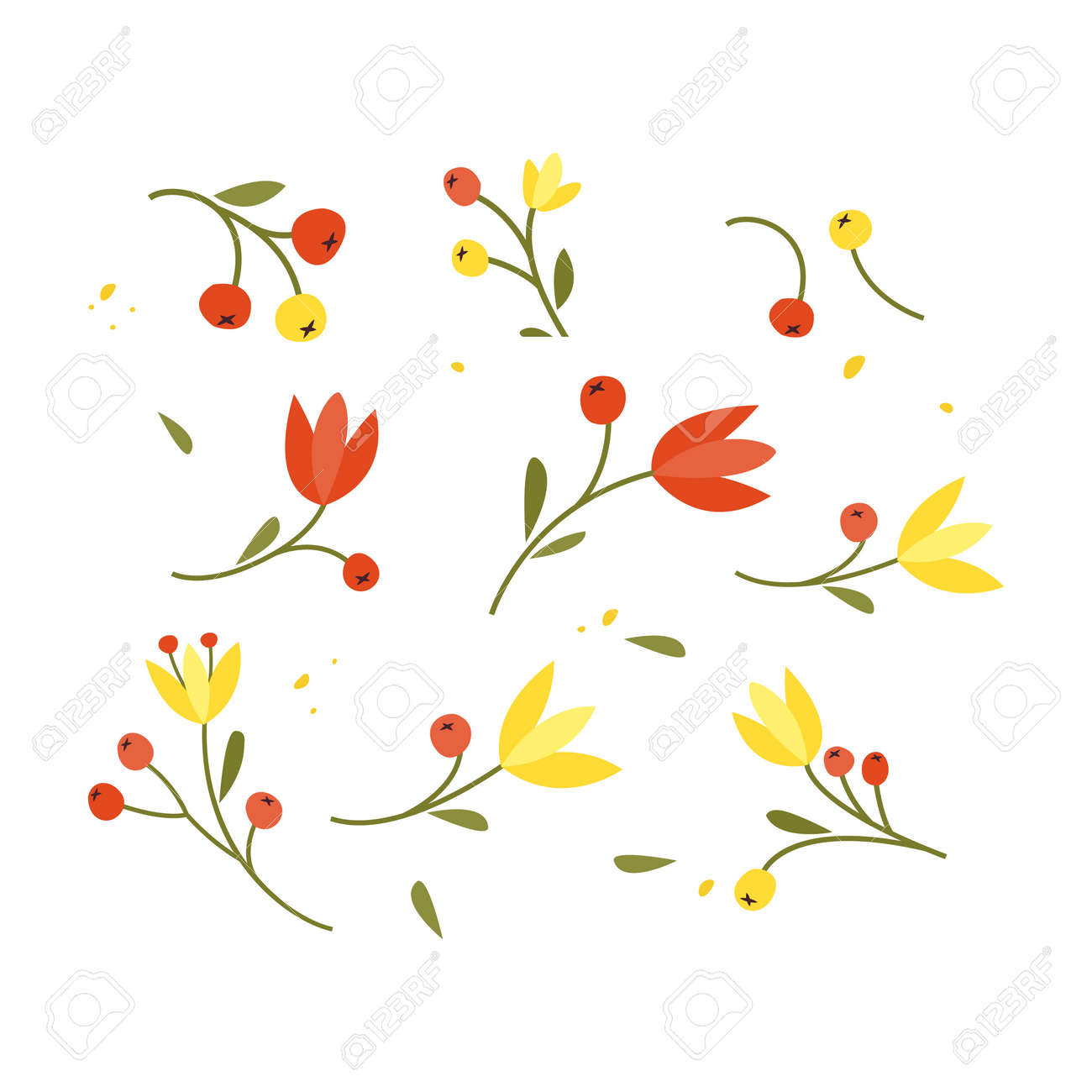 Collection of hand drawn plants. Botanical set of sketch flowers and branches, vector illustrations - 171530268