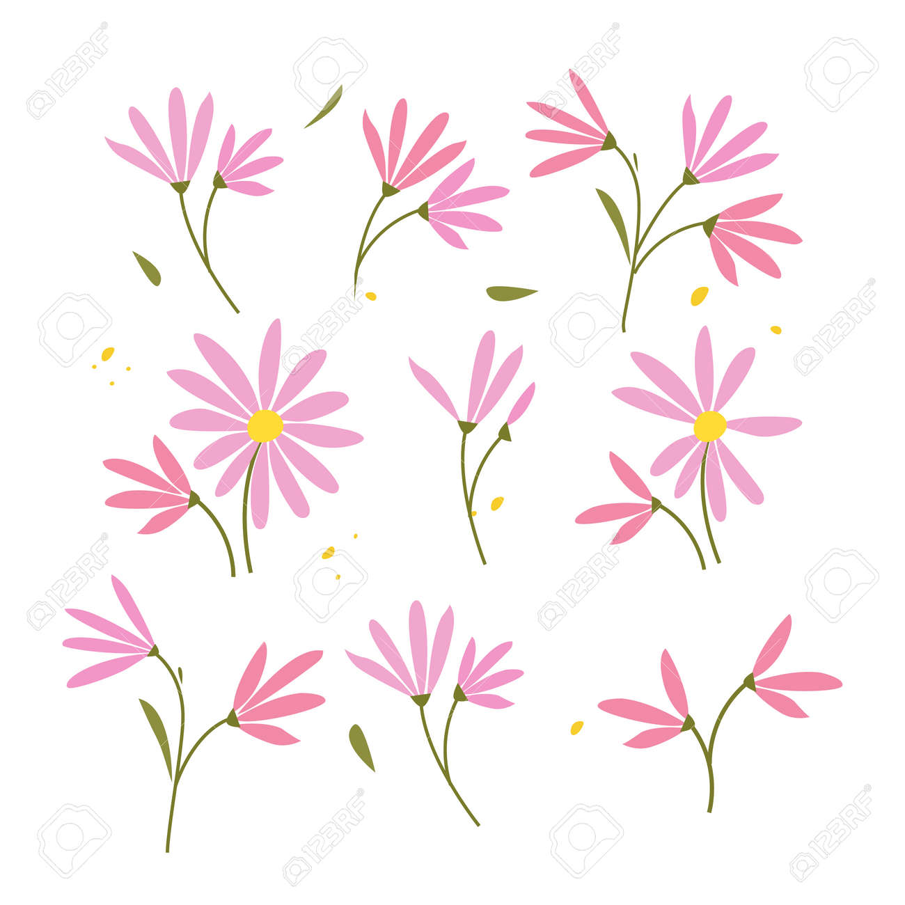 Collection of hand drawn plants. Botanical set of sketch flowers and branches, vector illustrations - 171530277