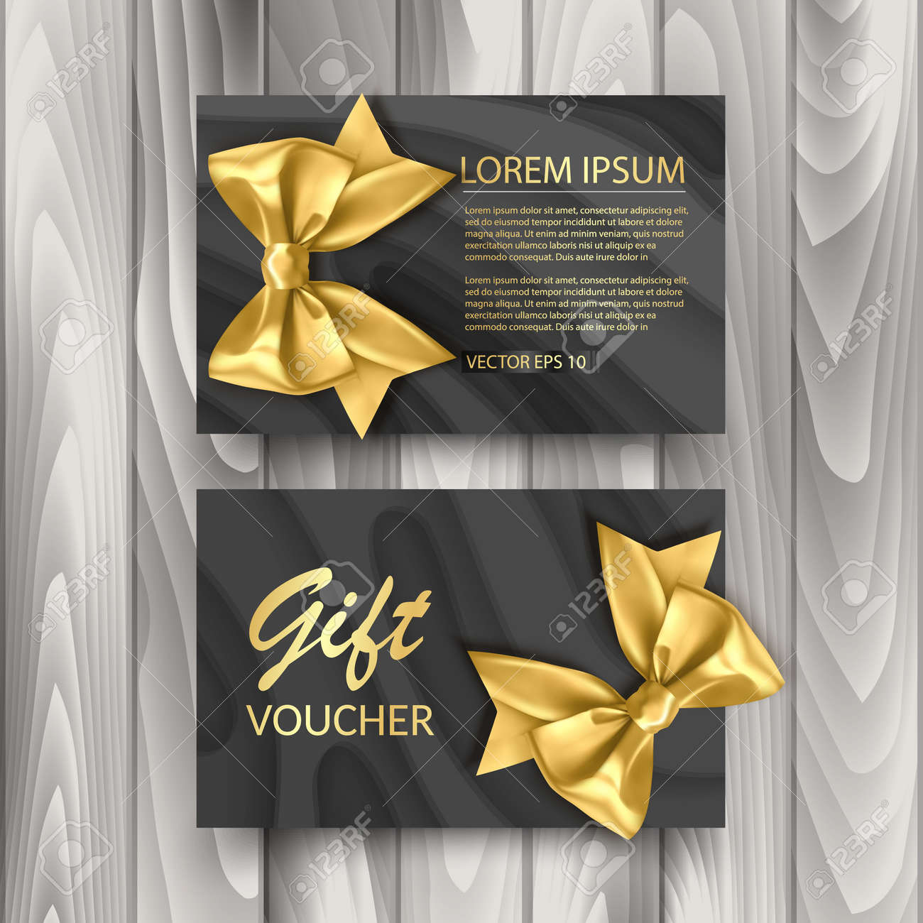 Set of Gift Voucher Card Template, Advertising or Sale. template with glitter texture and realistic bow illustration - 171581855
