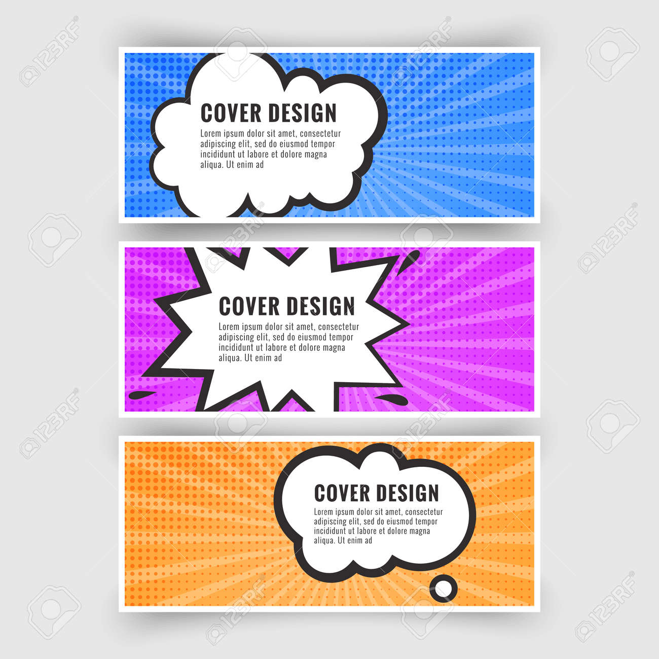 Set of banners in the style of pop art or comics, card collection, Vector illustration - 171608031