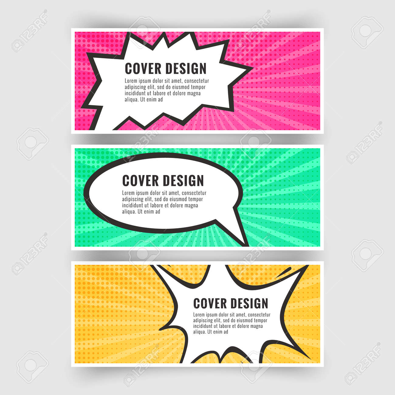 Set of banners in the style of pop art or comics, card collection, Vector illustration - 171608014