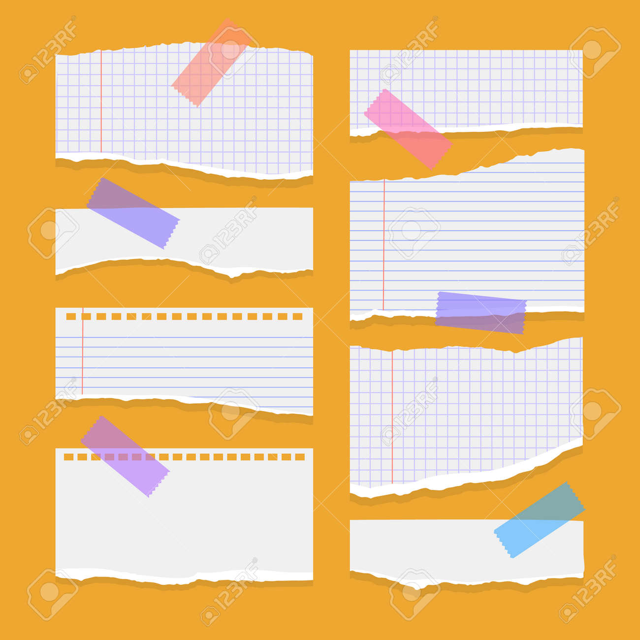 Set of torn ripped paper sheets of white color, notebook paper on orange background. Vector illustration - 171608000