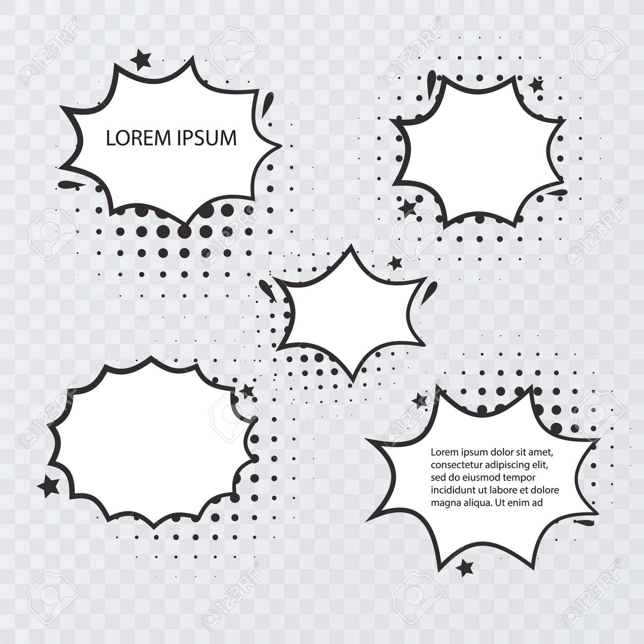 Retro empty comic bubbles and elements set with black halftone shadows on transparent background. Vintage design or pop art style, Vector format - 171607891