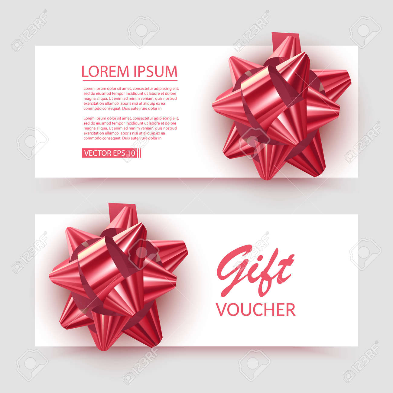 Voucher template with red bow, ribbons. Design usable for gift coupon, voucher, invitation, certificate, etc. Vector eps 10 illustration - 171657233