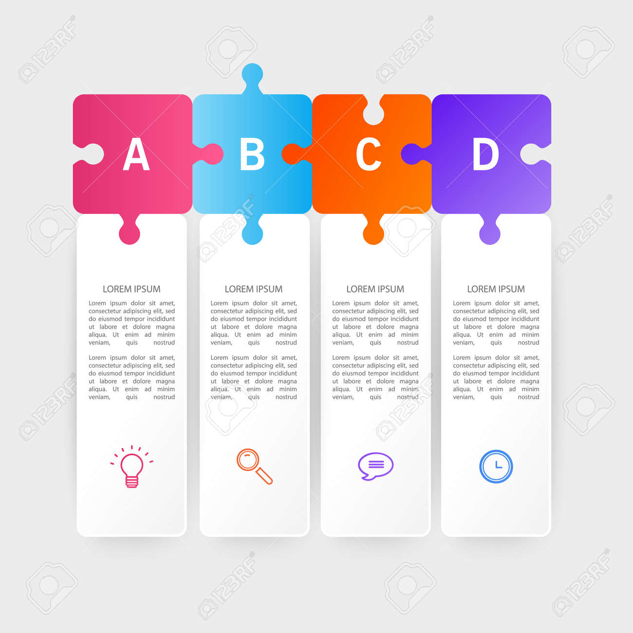 Infographic design template with icons and 4 options or steps. Can be used for process diagram, presentations, workflow layout or banner, Vector illustrations - 171657236