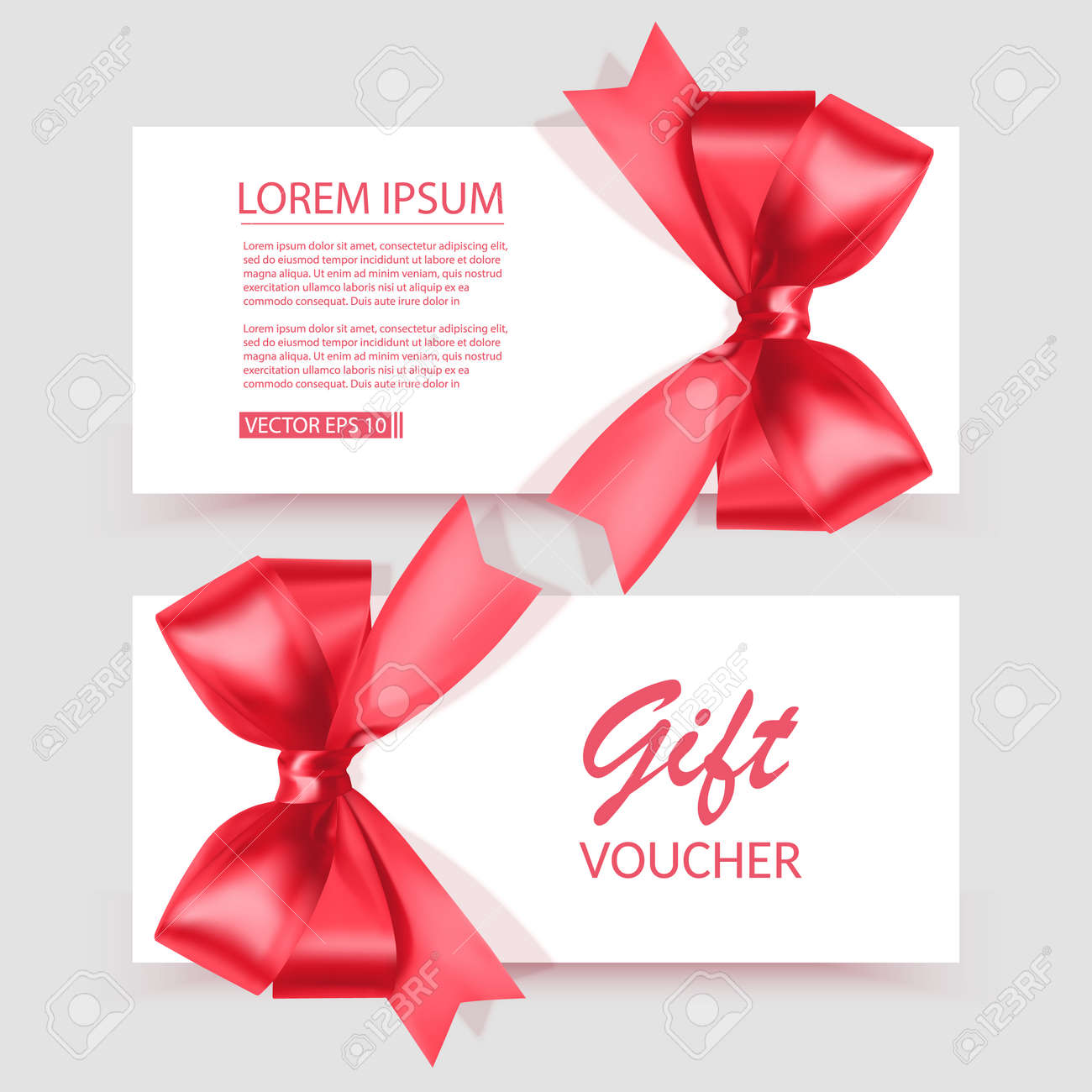 Voucher template with red bow, ribbons. Design usable for gift coupon, voucher, invitation, certificate, etc. Vector illustration - 171970916
