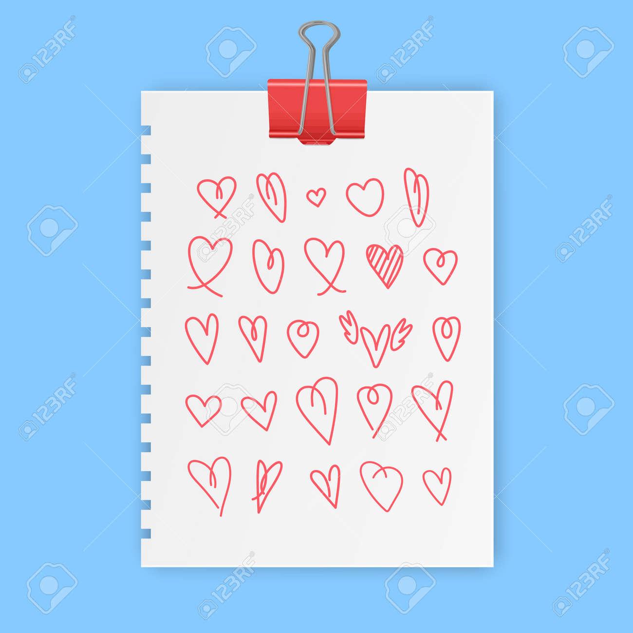 hand drawn heart sign vector, love symbols set illustration, doodle love icon set in vector format - 172322941
