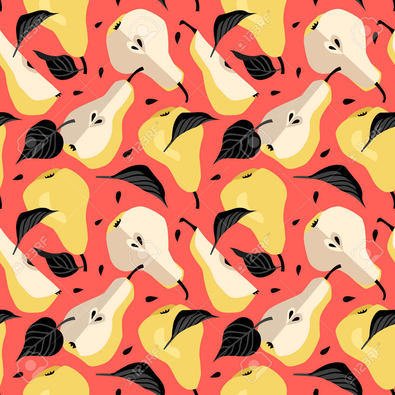 Seamless pattern with yellow pear. Fruit background. Vector print for fabric and wallpaper - 172489126
